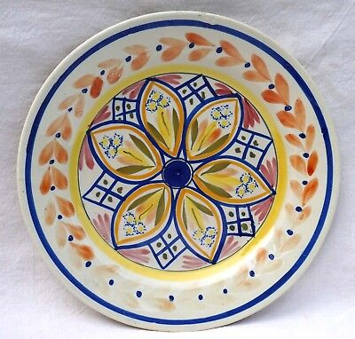 HENRIOT QUIMPER French Hand Painted Faience Plate Geometric Decor