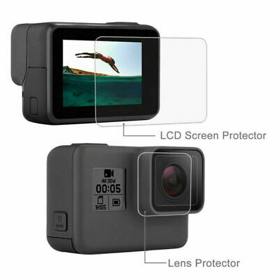 2pcs For Gopro Hero 7 6 5 Camera Accessories Lens Cap Screen Back Tempered Glass