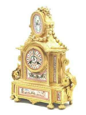 Antique Mantle Clock Superb French S.Marti C1880 Gilt With Pink Sevres Porcelain