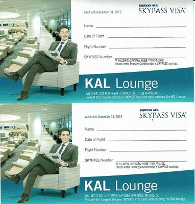TWO KAL Lounge Pass 12/31/19 Expiration Korean Air Club Pass