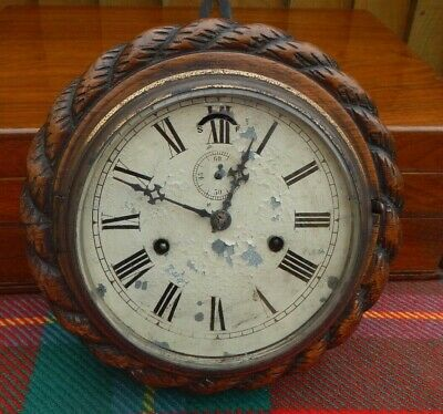 Antique Circular Rope Effect Carved Oak Case~Lever Escapement~Wall Clock