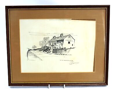 Scenic 'The Old Grouse Inn, Glossop' ORIGINAL INK ILLUSTRATION / SIGNED  - S25
