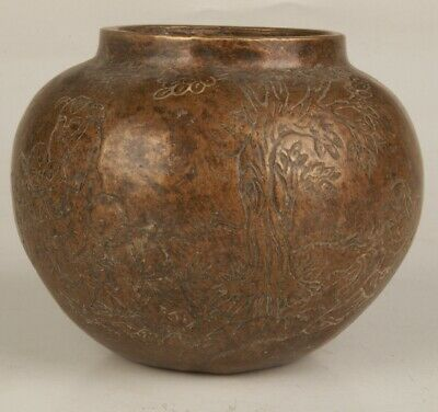 Chinese Bronze Hand Carving Landscape Jar Decoration Collection