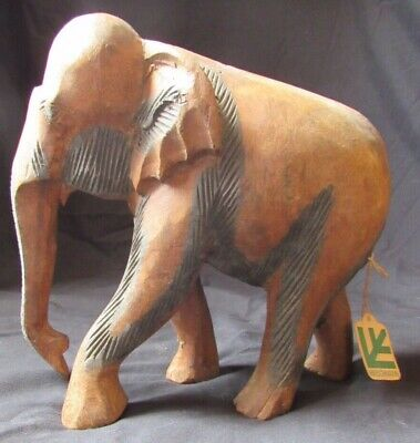Handcarved Wooden Elephant Statue - India - Large Wood Hand Carved Figurine NWT