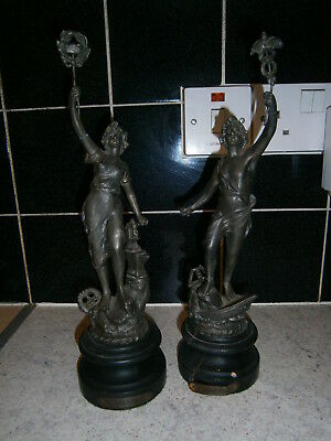 Pair of Antique Metal Decorative Ornate Figurines  Wooden Base Clock Companions