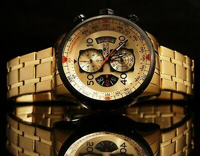 Invicta Mens Aviator Gold Dial 18K Yellow Gold Plated Chrono SS Bracelet Watch