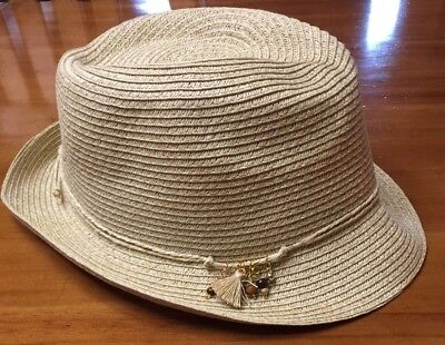 099d2983ac697 NWT Nine West Beige Packable Fedora Hat Beaded Strand UPF 50+ One Size N218-