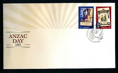 2019 ANZAC Day (Gummed Stamps) FDC - Postmarked Canberra ACT 2601