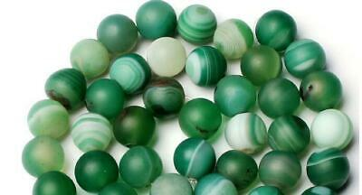 8mm Natural Frosted Banded Green Agate Onyx Round Shape Loose Beads Strand 15""