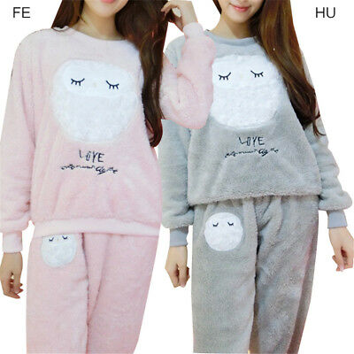 Women Warm Flannel Pajamas Set Kawaii Cartoon Owl Soft Autumn Winter Sleepwear