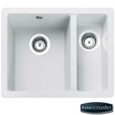 Rangemaster Paragon 1.5 Bowl Undermount Granite Crystal White Kitchen Sink