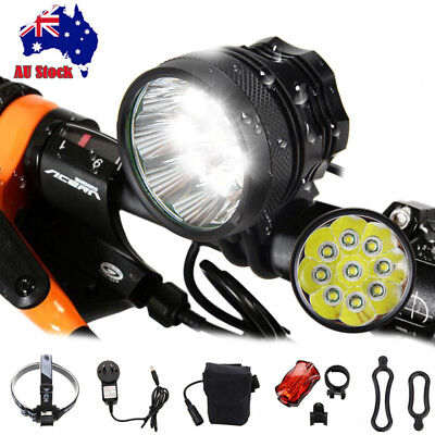 Powerful 50000Lm 9x XM-T6 LED Rechargeable MTB Bicycle Lamp Bike Light Headlamp