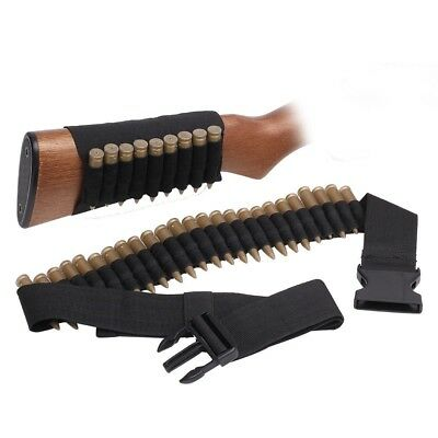 2X 9 Shell Rifle Cartridge Holder Ammo Carrier Pouch Hunting Gun Buttstock BK