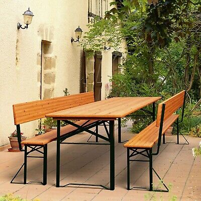 Outdoor Folding Trestle Table And Bench Set Large Dining Wooden Garden Furniture