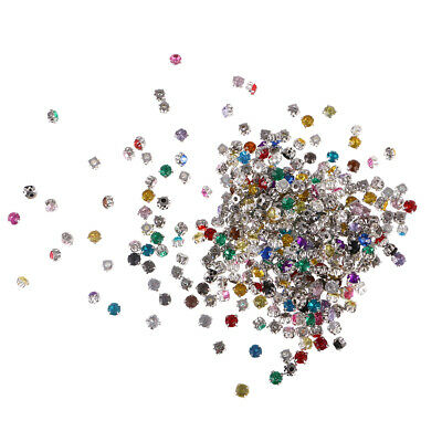 300Pcs Faceted Sew On Glass Crystals Rhinestones Diamantes Abacus Beads DIY