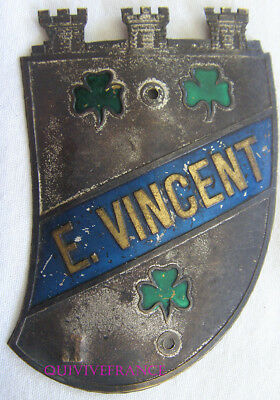 BADGE DE CALANDRE  plaque E.VINCENT - tricycles bicycles engins à vapeur 1880
