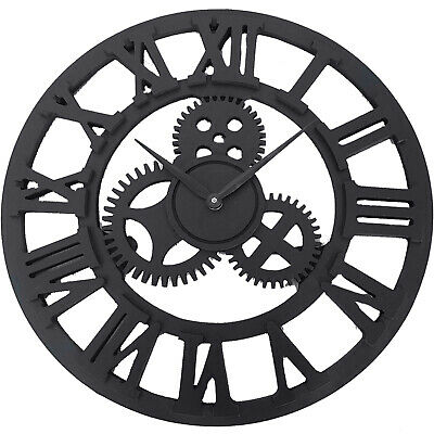 58CM Large Antique Metal Skeleton Round Indoor & Out Wall Clock Black Home Décor