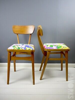 Pair Vintage Retro Mid Century Chairs Child Bedroom Side Bentwood Jungle Print