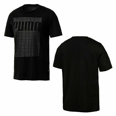 06e4ee05007 Puma Mens Wording Tee Short Sleeved Top Casual T-Shirt Black 851542 01 P2A