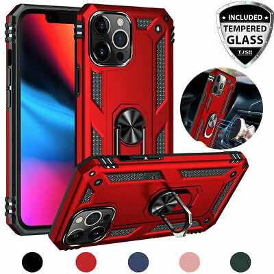 For Apple iPhone 11/Pro/Max/XS Max/XR/X Magnetic Metal Ring Case+Tempered Glass