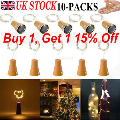 10X 20LED Solar Power Lamp Copper Wire Cork Shape Wine Bottle Fairy String Light