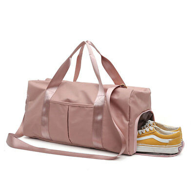 Women Nylon Gym Sports Duffel Weekender Travel Shoulder Bag W/ Shoes Compartment
