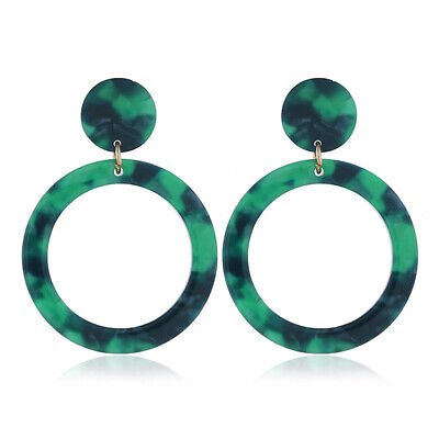 Round Hollow Out Leopard Drop Exaggerated Pendant Resin Earrings Jewelry CB