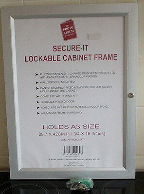 A3 Aluminium Lockable Cabinet Frame,New,Poster Board,29.7 X 42Cm,1,2,4,6,12,18