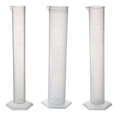 Various Sizes Graduated Cylinder Lab Measurement Clear White Plastic Hex Base