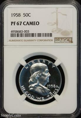 1958 Franklin Silver Half Dollar ~ NGC PF67 CAMEO ~ FROSTY CAM PROOF! R8-683-003