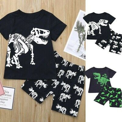 Toddler Baby Kids Boy Dinosaur Summer Pajamas Sleepwear Tops Pant Outfit Set New