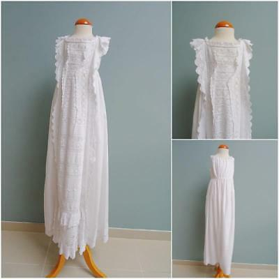 Antique Christening Dress Embroidered Whitework Gown Petticoat Victorian c1870