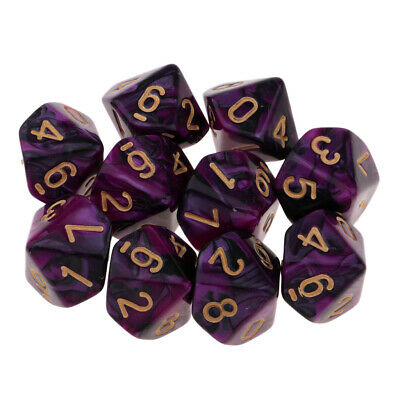 Multi sided dice set of 10 D10 Dungeons D&D RPG Role play Purple+Black