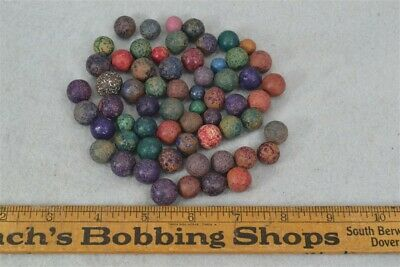 antique clay marbles colored toy play marbles original lot 60 count 1850