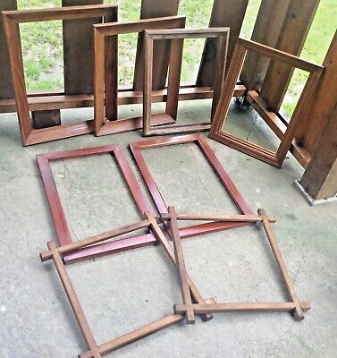 Lot of 8 vintage antique Mission oak Wooden Wall Wood Picture Frames no glass