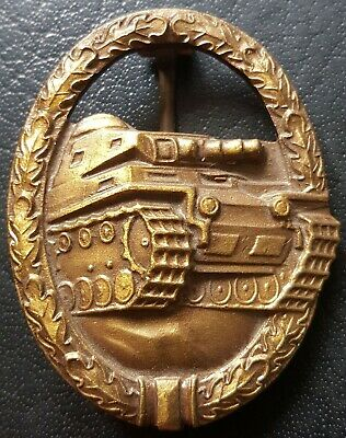 ✚8265✚ German Army Tank Battle Panzer Badge in Bronze post WW2 1957 pattern ST&L