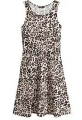 d8b73ee1ab02 H & M Leopard Animal Black Print Short Summer Skater Dress Size XS 8 BNWT