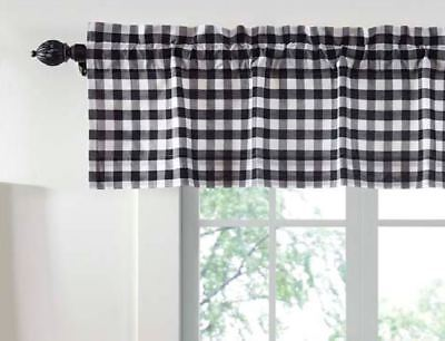 BLACK BUFFALO CHECK VALANCE : 16 x 72 WHITE PLAID COUNTRY COTTAGE ANNIE CURTAIN