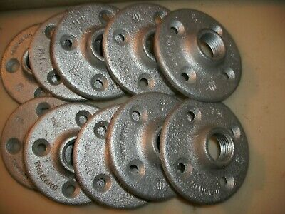 """Lot Of 10: 1/2"""" Galvanized Floor Flange Malleable Iron Fitting"""