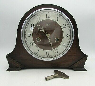 Classic SMITHS Chiming Mantel Clock in dark teak case