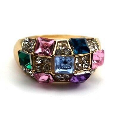 Beautiful Colorful Diamond Ring Gold-plated Crystal Wide Finger Ring Nice Gift