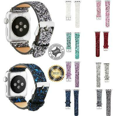 Glitter Sequin Leather Band Strap Bracelet For Apple Watch iWatch Series 38/44mm