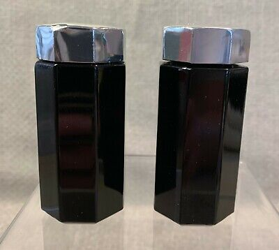 Arcoroc France Octime Black Glass Salt & Pepper Shakers with silver tops
