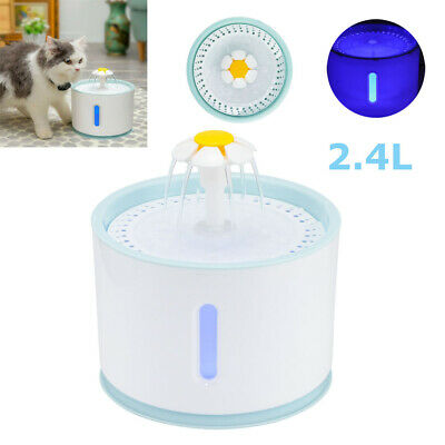 2.4L LED Pet Activated Drinking Water Fountain Automatic Cat Dog Water Feeder