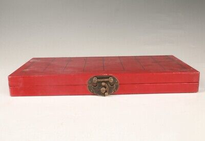 Chinese Red Leather Wood Resin Hand Carving Chess Box Competitive Game Gift