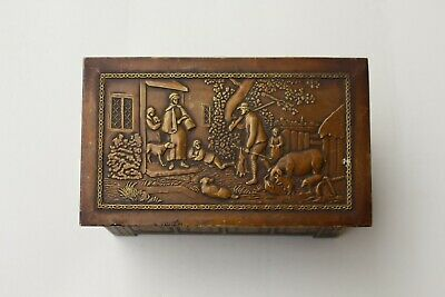 Vintage 1920/30s Jacobs & Co. Biscuit Tin Box. Brass Box. Log Box. Rustic Scene.