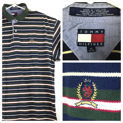 b45b4417 vtg Tommy Hilfiger Mens XL Blue Green White Striped Crest Logo S/S Polo  Shirt