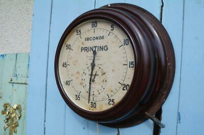 Vintage SMITHS Bakelite Wall Clock 40's Newspaper Printing Room Timer Clock RARE