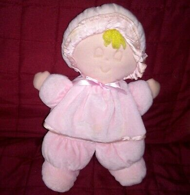 Eden Velour Pink Sleeping Baby Doll with Bonnet Velour Soft 11in Plush Lovey