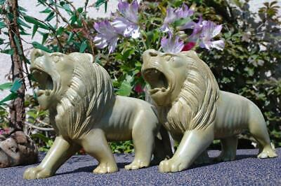 Stunning! Art Deco Hand Carved Hardstone Lion Staues 1930's Impressive & Unique!